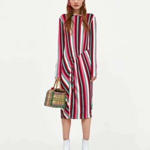 ZARA Collection Women's Striped Midi Dress Size M